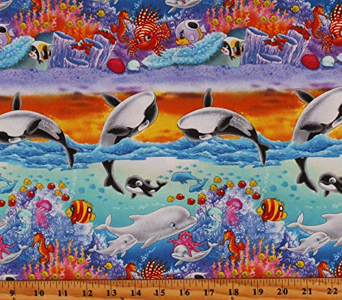 Cotton Dolphins Whales Starfishes Fishes Coral Ocean Crabs Landscape Sea World Blue Cotton Fabric Print by The Yard (D776.72)