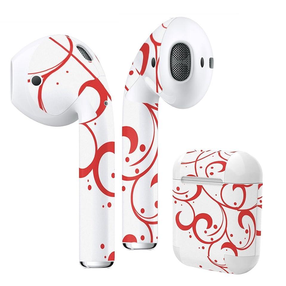 温度計部分的にパシフィックigsticker Air Pods 専用 デザインスキンシール airpods エアポッド apple アップル AirPods 第一世代(2016)airpods2 第二世代(2019)対応 イヤホン カバー デコレーション アクセサリー デコシール 005451 その他 赤 レッド 植物