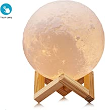 House of Quirk 3D Printed 5.9-inch (15cm) Rechargeable Touch Sensor Dimmable Moon Night Lamp for Home Decor (White)