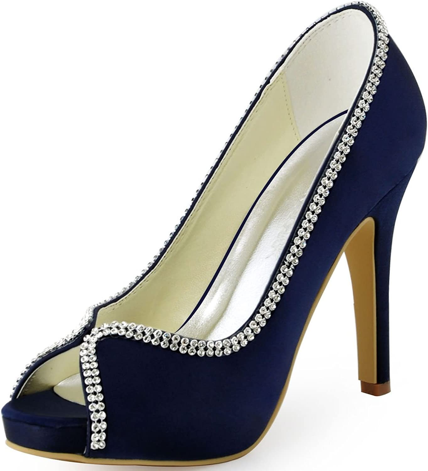 ElegantPark EP11083-IP Women Peep Toe Platform Satin Rhinestones Prom High Heel Evening Party shoes Navy bluee US 7