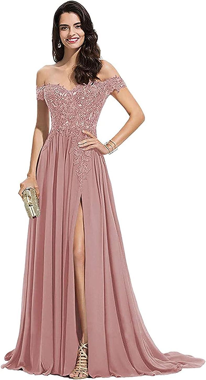 DDMIX Women's Off Shoulder Prom Dresses Slit Chiffon Lace Appliques Long Formal Evening Gowns