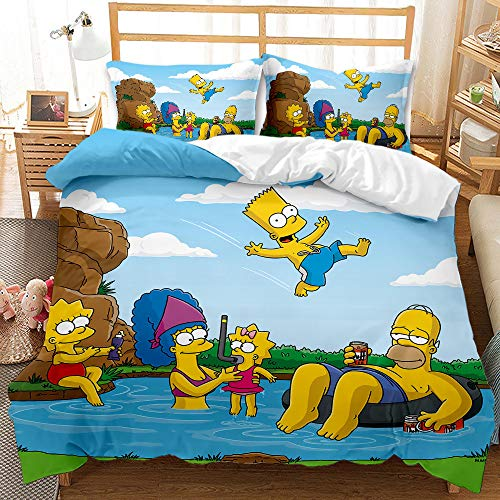 Proxiceen Simpson - Juego de ropa de cama, funda nórdica de tres piezas y funda de almohada de 135 x 200 cm (A8, 220 x 240 cm + 80 x 80 cm x2)
