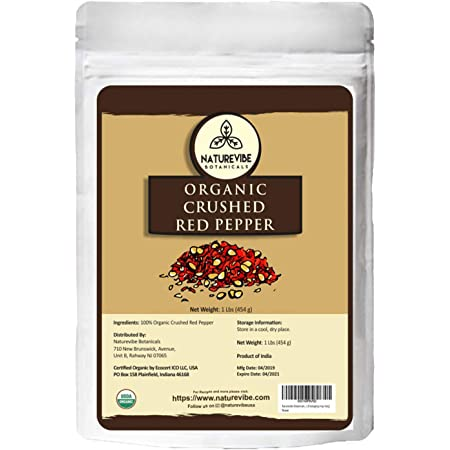 Naturevibe Botanicals Organic Crushed Red Pepper, 1lbs - Non GMO and Gluten Free | Adds Taste and Flavor [Packaging may Vary]…