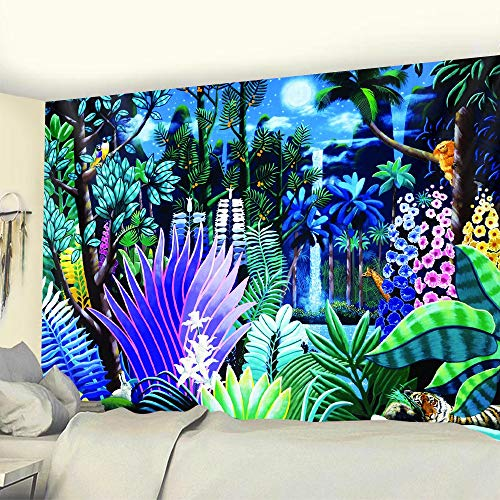 Tropical plant tapestry wall hanging palm leaf flower pattern bohemian tapestry home decoration background cloth a3 180x200cm
