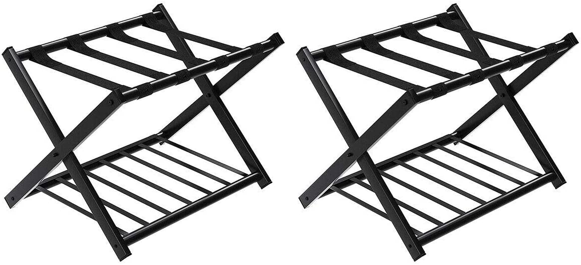 WELLFOR Set of 2 別倉庫からの配送 クリアランスsale 期間限定 Luggage Folding Shelf with Metal Rack