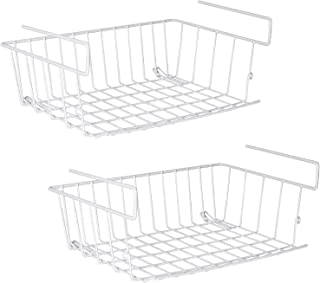 Under Shelf Storage Basket, m zimoon Under Cabinet Hanging Metal Wire Storage Wire Basket Organizer Fit Dual Hooks for Kit...