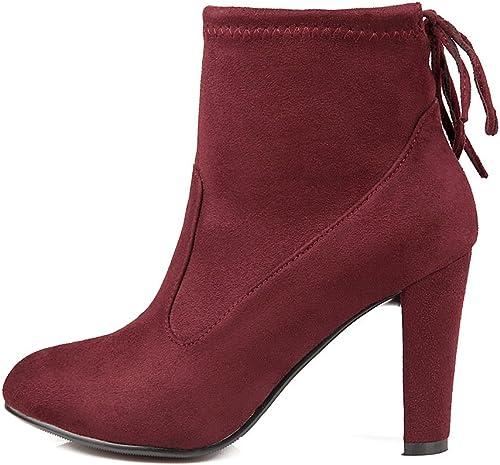 DYF Chaussures femmes Bottes courtes Martin Bride Bride rugueux de couleur solide,Vin rouge,43  les magasins de détail
