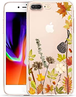 Unov Compatible Case Clear with Design Embossed Pattern TPU Soft Bumper Shock Absorption Slim Protective Cover for iPhone 7 Plus iPhone 8 Plus 5.5 Inch (Leaves Lyrics)