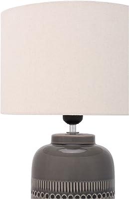 Pauleen 48224 lampe à poser Gleaming Beauty max. 20 Watt faite à la amin beige, gris lampe de chevet de look boho en tissu, céramique E27