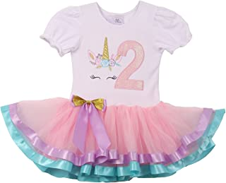 Toddler Girls Cute Short Sleeve Unicorn Number Birthday Party Girl Tutu Dresses