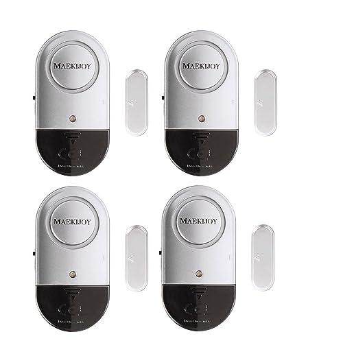 Alarme de fenêtre, 4 paquets Alarmes de porte et de fenêtre Fenêtre de porte de sécurité Fenêtre anti-intrusion avec LOUD 120 DB Siren - Bricolage Facile à installer