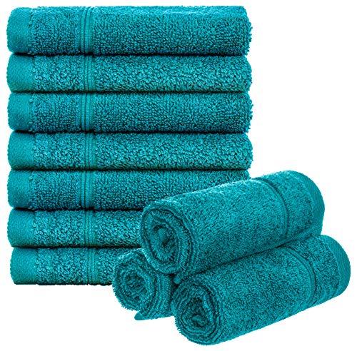 Brandsseller Juego de 10 toallas de invitados, aprox. 50 x 30 cm, 100% algodón, color turquesa