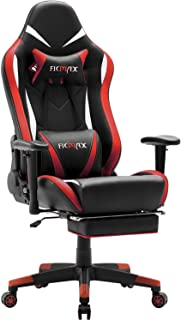 Ficmax Massage Gaming Chair Ergonomic Gamer Chair with Footrest Reclining Game Chair with Armrest High Back PU Leather PC Gaming Chair Large Size Racing Office Chair with Headrest and Lumbar Support