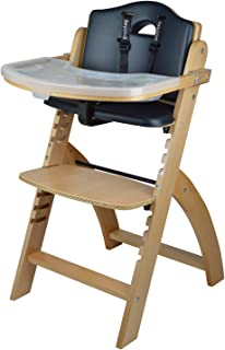 Abiie Beyond Wooden High Chair with Tray. The Perfect Adjustable Baby Highchair Solution for Your Babies and Toddlers or as a Dining Chair. (6 Months up to 250 Lb) (Natural Wood - Black Cushion)