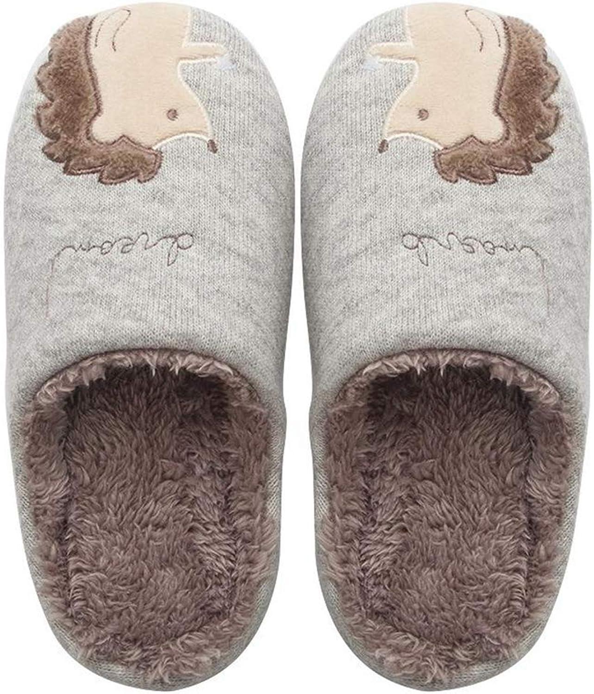 ASO-SLING Women's Cute Animal House Slippers Warm Plush Hedgehog Indoor Slipper Waterproof Sole Fuzzy Home Slides