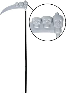 Skeleteen Scythe Staff with Skulls - Grim Reaper Death Scythe Costume Accessories Weapon Prop