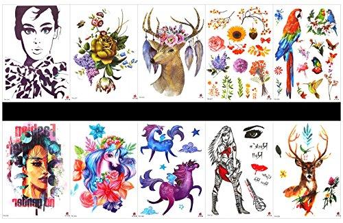 Grashine 10 stks tattoo paard tijdelijke tatoo in een pakketten, met inbegrip van bloemen, papegaai, vogels, vrouw, dame, rozen, herten, paard met bloemen, dame, herten, enz.