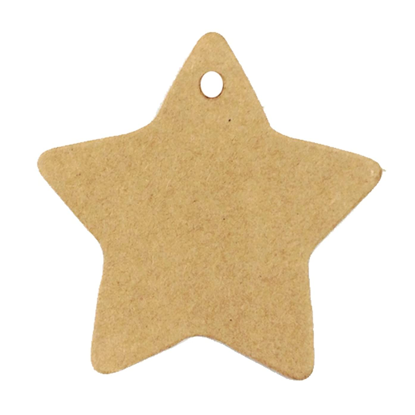 Wrapables 50 Gift Tags/Kraft Hang Tags with Free Cut Strings for Gifts, Crafts & Price Tags - Star