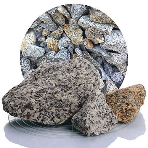 Schicker Mineral Granit Gabionensteine gelb-grau 25 kg, Bruchsteine 50-150 mm, Steine als Füllmaterial für Ihre Gabionen, zur Gartendeko