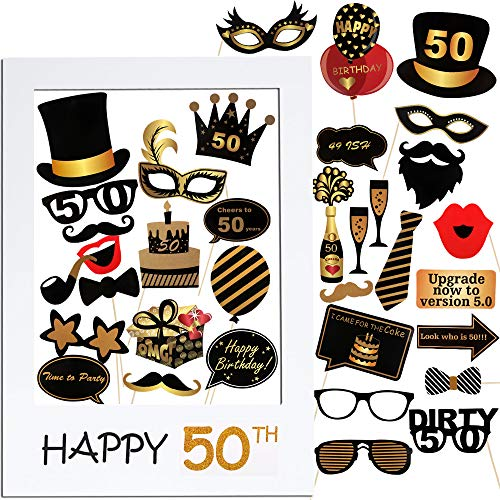 VINFUTUR 50th Cumpleaños Photo Booth Props, 35pcs