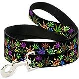Dog Leash - Multi Marijuana Leaves Black Multi Color