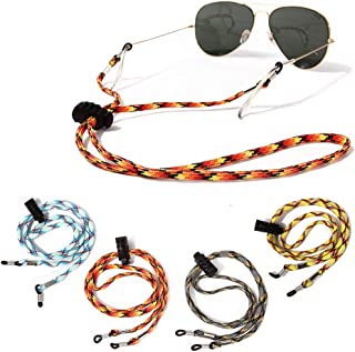 MoKo Adjustable Sunglasses Strap 4 Pack Women Universal Fit Sports Glasses String Spectacles Cord No Tail Eyewear Retainer Safety Glasses Holder for Men