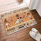 JHTRSJYTJ Alte ägyptische Dekoration ägyptische Götter und Pharao Badteppich Rutschfest im Freien, 15.7X23.6in Badematte