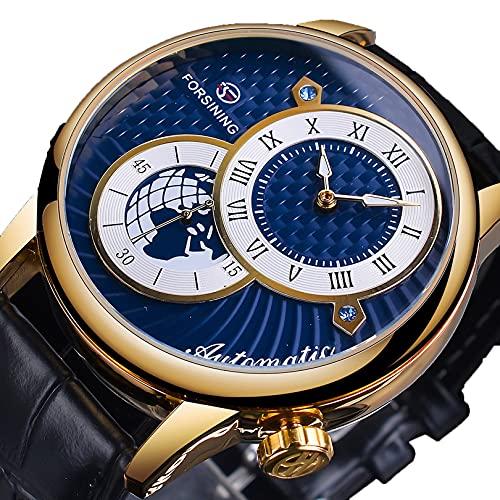 Relojes para hombre, relojes de pulsera para hombres reloj mecánico luminoso de acero inoxidable 3atm 30 metros reloj de pulsera con correa de cuero, negocio casual de negocios para hombre,A01