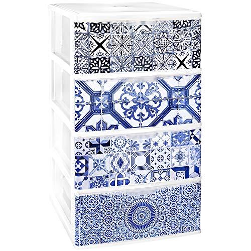 TODO HOGAR - Cajonera Apilable Plastico - Modelo Iris - Decorado Alhambra (Largo-380 Ancho-370 Alto-626)