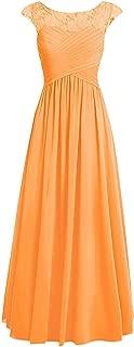 CladiyaDress Women Sheer Neck A Line Floor Length Bridesmaid Dress Evening Gown D067LF