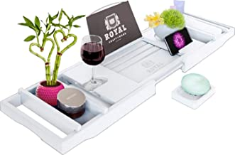 Royal Craft Wood Bamboo Bathtub Caddy Tray with Wine and Book Holder - One or Two Person Bath Tray with Extending Sides - Free Soap Dish - White