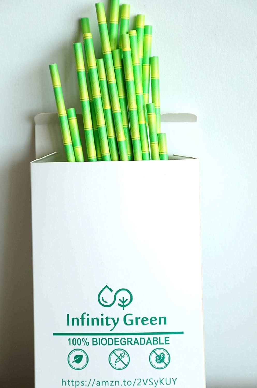 100 Piece Green White Paper Drinking Straws biodegradable cocktail drink restaurants party straw tableware 100 Piece, 7.75 GreenWhite