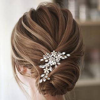 Earent Bride Wedding Pearl Hair Pins Silver Bridal Hair Accessories Rhinestone Hair Pieces Flower Headpieces for Women and...