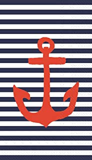 Ideal Home Range 32 Count 3-Ply Paper Guest Towel Napkins, Yacht Club Nautical Collection (Blue Stripe Anchor)