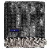 Highland Tweed Herringbone 100% Pure New Wool Throw ~ Charcoal ~