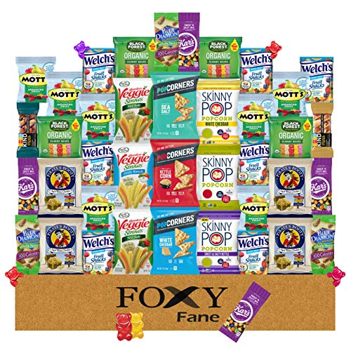 Foxy Fane 40 count Premium Gluten-Free Healthy Snack Box - Ultimate Gift Care Package filled with Variety of Chips, Nuts, Bars, Popcorn & more - Bulk Bundle of Gluten Free Delicious Treats (40 Snacks)
