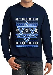 TeeStars - Happy Hanukkah Ugly Holiday Sweater Star of David Sweatshirt
