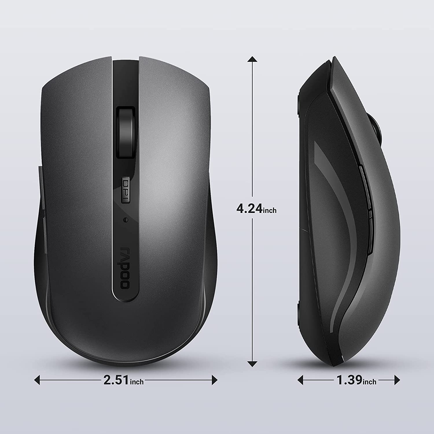 RAPOO 7200M Wireless Mouse, Multi-Mode Silent Mouse, Ergonomic Optical Mouse, 4 Adjustable DPI, Bluetooth Office Mouse, Portable Light Computer Mice for Notebook, PC, Laptop, Computer, Grey