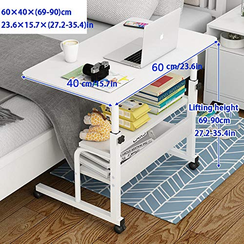 Steel Pipe Desk Stool with White MDF,Adjustable Height, Lockable Casters, 3 Layers of Storage,Over Bed Table for Breakfast in Bed or Dinner in Front of The TV on The Sofa