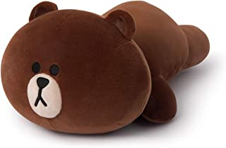 LINE FRIENDS Soft Pillow - Character Mini Stuffed Cushion, Brown, One-Size