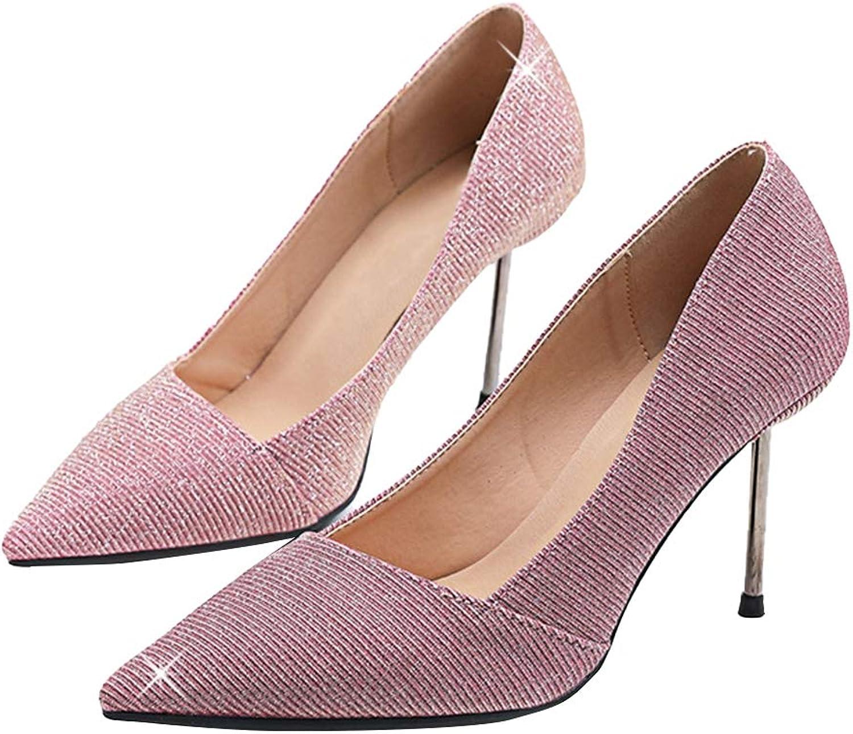 Sam Carle Women's Pump,Classic Stylish Sequin High Heel Pink bluee Wedding Dress Pumps