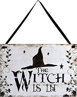 LUOEM Halloween Hanging Welcome Sign Trick or Treat Wooden Plaque Board for Haunted House - Witch is in