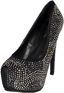 Paprika Temper Black Women/'s Floral Embellished Slip On Loafer