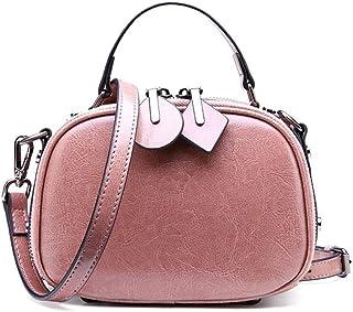 Women's Genuine Leather Small Square Bag/handbag Cowhide Slung Shoulder Bag Ladies Wild Zipper Small Bag Crossbody Bag. jszzz (Color : Pink)