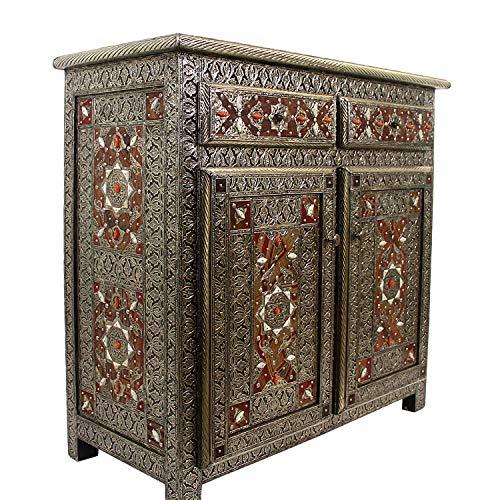 Casa Moro Marokkanische Kommode orientalisches Sideboard ESMA aus Naturholz mit Metall-Intarsien 102x46x98 cm (BxTxH) | Kunsthandwerk aus Marokko | HM1018
