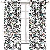 MMHJS Cortina Opaca con Patrón De Animales Marinos 3D Cortina De Decoración Creativa para El Hogar De Moda Adecuado para Cortinas De Villas, Centros Comerciales Y Hoteles 2 Piezas