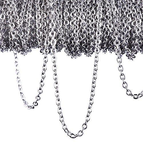 12 Mètres Chaîne Collier en Acier Inoxydable Chaîne de Câbles pour Bijoux Accessoires Bricolage, Couleur Argent(2.4mm)
