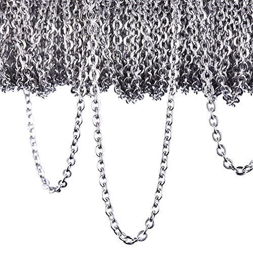 12 Meters Stainless Steel Cable Chain Link Chain Necklace for Jewellery Accessories DIY, Silver Color (2.4 mm)