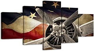 Vintage American US USA Flag Fighter Bomber Head Propelle Canvas Wall Art Prints Retro Warplanes Home Decor Pictures 5 Panel Poster Military Aircraft Painting Framed Ready to Hang (70