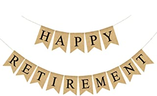 Jute Burlap Happy Retirement Banner Retirement Party Bunting Garland Decoration Supply